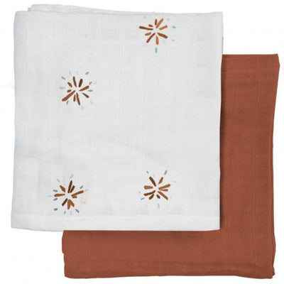 Dandelion (Cream Patterned/Cinnamon) Fabelab Organic Muslin Squares (Multiple Variants) - Naked Baby Eco Boutique