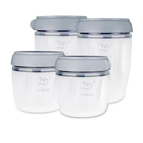 Grey Haakaa Gen 3 Silicone Bottle Milk Storage Container Set (Multiple Variants) - Naked Baby Eco Boutique