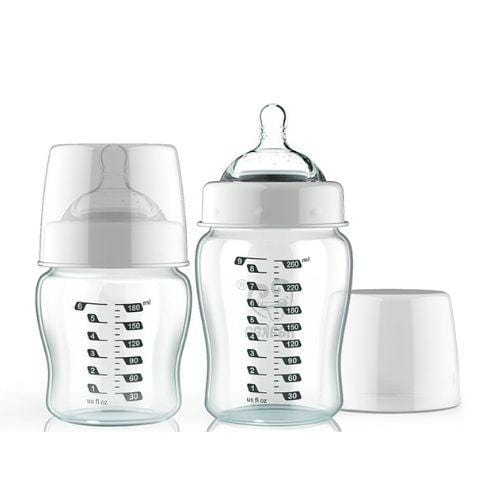 Haakaa Wide-Neck Glass Baby Bottle (Multiple Variants) - Naked Baby Eco Boutique