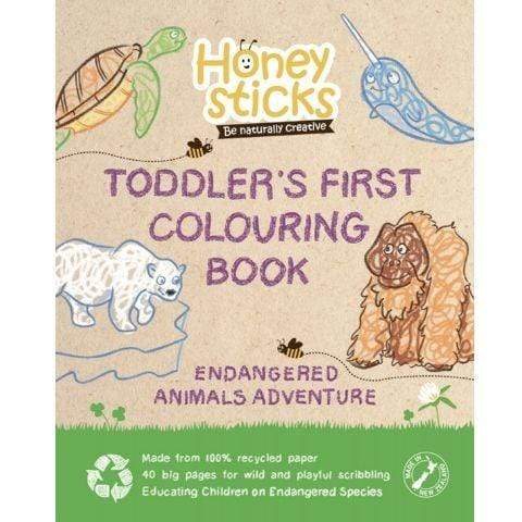 Endangered Animals Honeysticks Toddler's First Colouring Book (Multiple Variants) - Naked Baby Eco Boutique