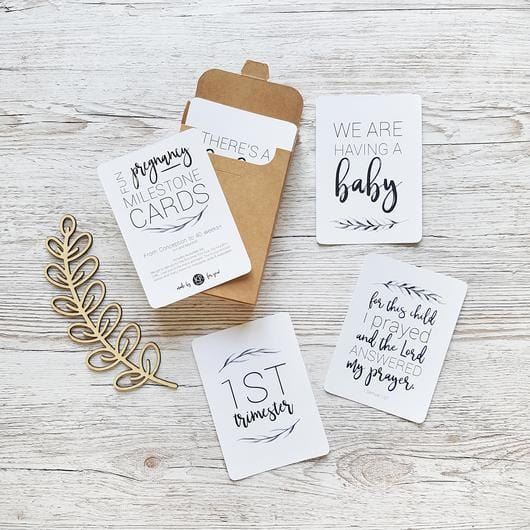 KP Designs Watercolour Pregnancy Milestone Cards - Full Set - Naked Baby Eco Boutique