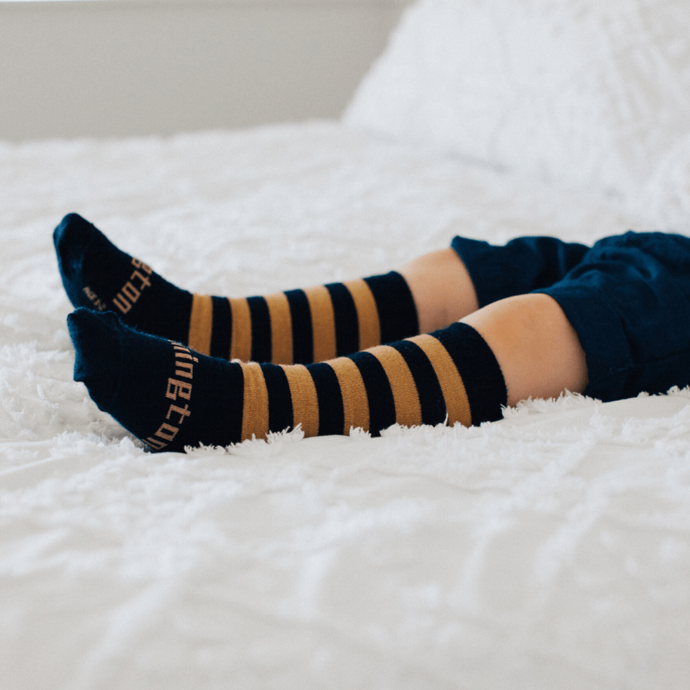 Camel (Caramel/Navy Stripes) / Newborn-3 Months NEW 2020 Lamington Merino Wool Socks (Multiple Patterns) - Naked Baby Eco Boutique