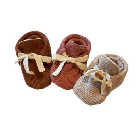 Lola & Me Organic Cotton Rib Booties (Multiple Variants) - Naked Baby Eco Boutique