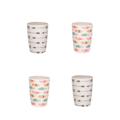 Love Mae Feathers & Arrows Bamboo Tumbler Set - 4-Pack - Naked Baby Eco Boutique