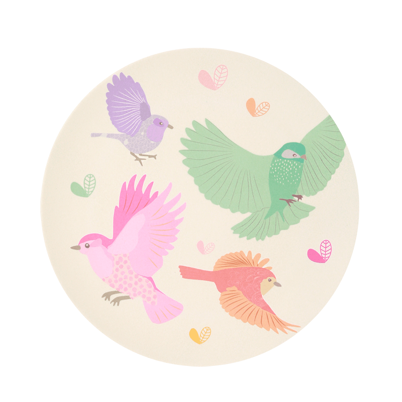 Birds - Single Plate Love Mae Bamboo Large Plates (Multiple Variants) - Naked Baby Eco Boutique