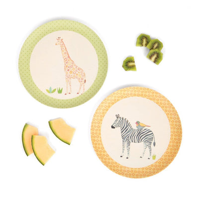 Giraffe & Zebra - Set of 2 Plates Love Mae Small Bamboo Plates - Naked Baby Eco Boutique