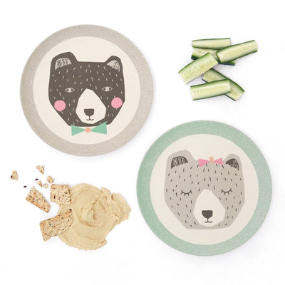 Mama & Papa Bear - Set of 2 Plates Love Mae Small Bamboo Plates - Naked Baby Eco Boutique