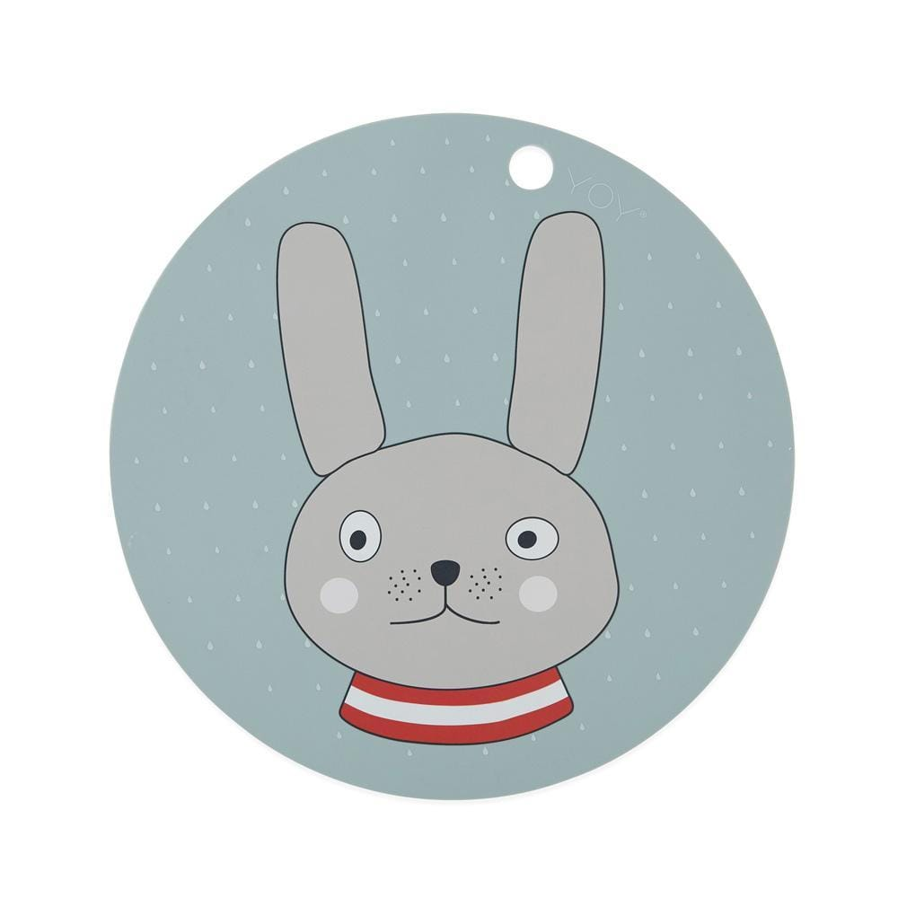 Rabbit (Minty) OYOY Mini Round Silicone Placemat (Multiple Variants) - Naked Baby Eco Boutique