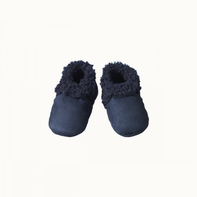 Navy / 0-3 Months Nature Baby Lambskin Booties - Naked Baby Eco Boutique