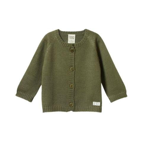 Cypress / 0-3 Months Nature Baby Merino Knit Cardigan (Multiple Variants) - Naked Baby Eco Boutique