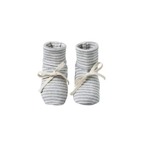 Grey Marl Stripe / 0-3 Months Nature Baby Organic Cotton Baby Booties (Multiple Variants) - Naked Baby Eco Boutique