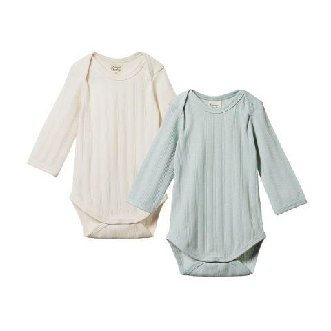 Nature Baby Organic Cotton Long Sleeve Derby Onesie 2-Pack (Multiple Variants) - Naked Baby Eco Boutique