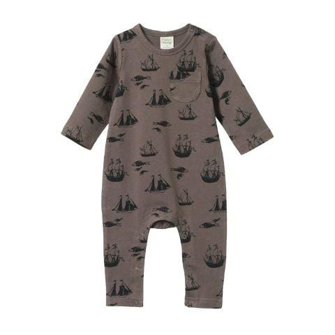 Voyage Truffle / 0-3 Months Nature Baby Organic Cotton Long Sleeve Romper (Multiple Variants) - Naked Baby Eco Boutique