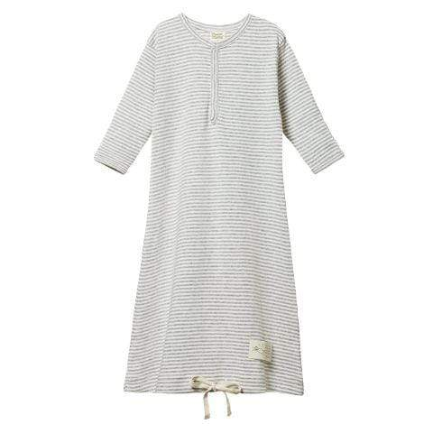 Grey Marl Stripe / Newborn Nature Baby Organic Cotton Sleeping Gown (Multiple Variants) - Naked Baby Eco Boutique