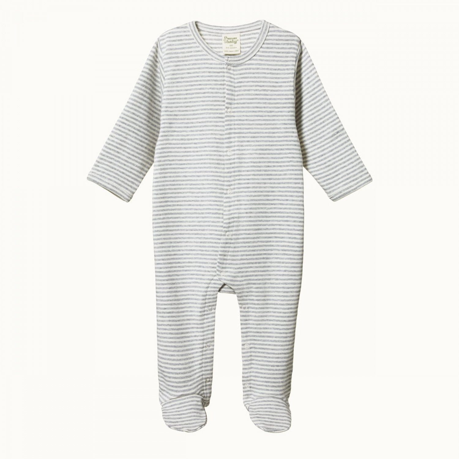 Grey Marl Stripe / Newborn Nature Baby Organic Cotton Stretch & Grow Suit (Multiple Variants) - Naked Baby Eco Boutique