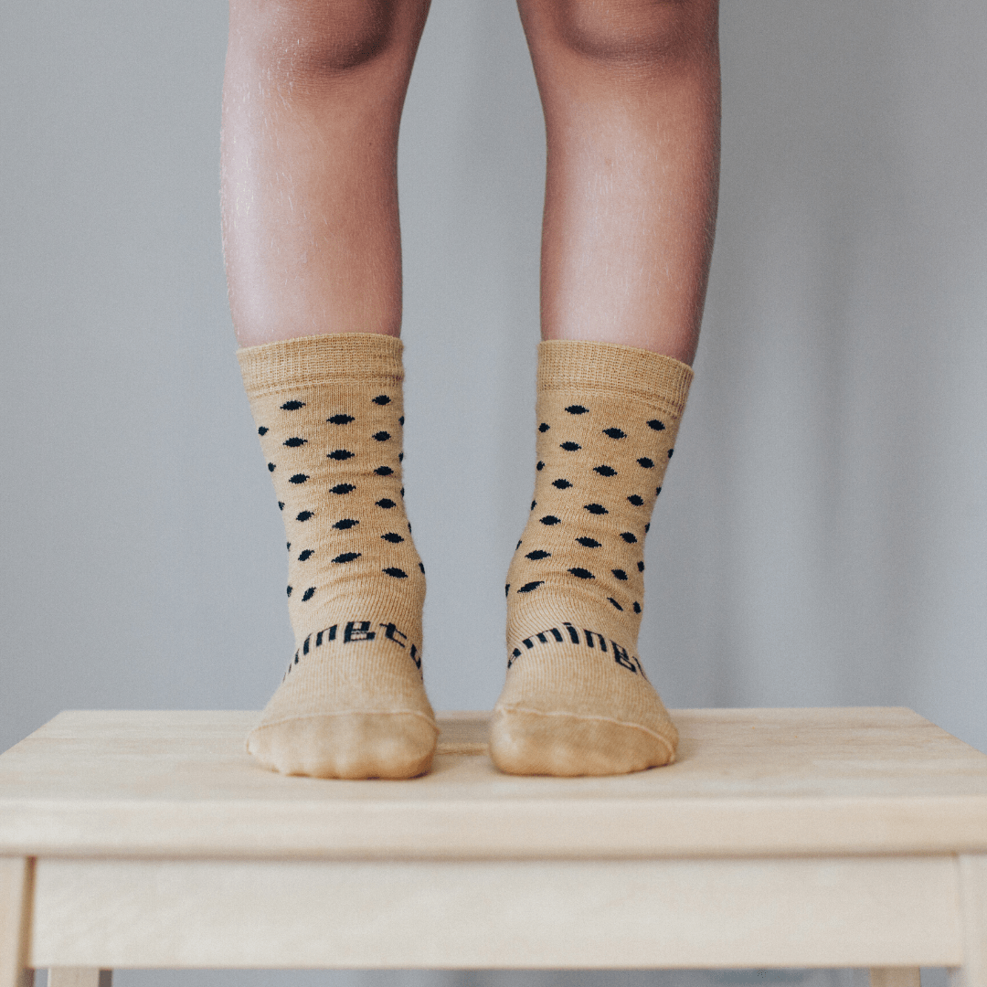 Acorn (Caramel/Black Dots) / Newborn-3 Months NEW 2020 Lamington Merino Wool Crew Socks (Multiple Patterns) - Naked Baby Eco Boutique