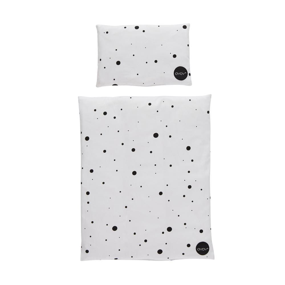 White & Black Dots OYOY Mini Organic Cotton Doll Bedding (Multiple Variants) - Naked Baby Eco Boutique