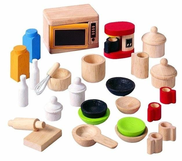 Plan Toys Dollhouse Kitchen & Tableware Accessories - Naked Baby Eco Boutique