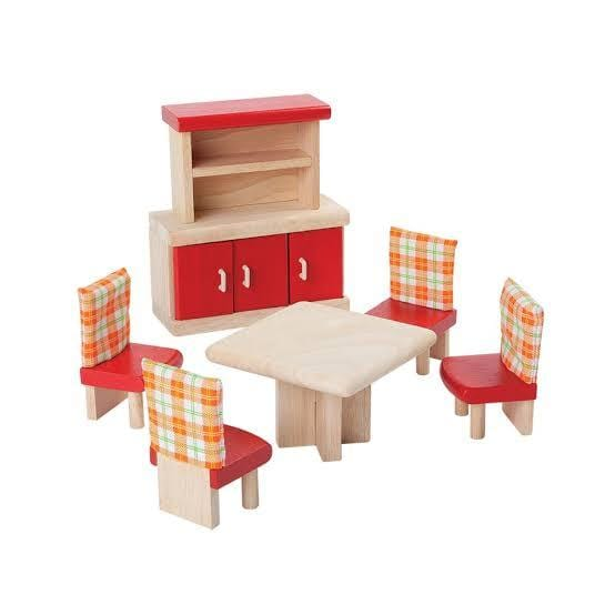 Plan Toys Dollhouse Dining Room Furniture - Naked Baby Eco Boutique