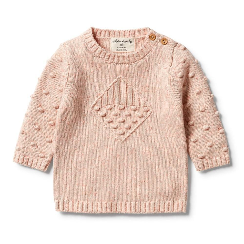 Flamingo Oatmeal Fleck / 0-3 Months Wilson & Frenchy Knitted Jacquard Spot Jumper (Multiple Variants) - Naked Baby Eco Boutique