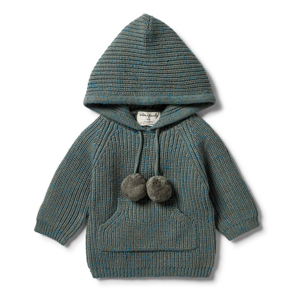 Wilson-and-Frenchy-Knitted-Jumper-with-Hood-Dusty-Olive-Fleck-Naked-Baby-Eco-Boutique