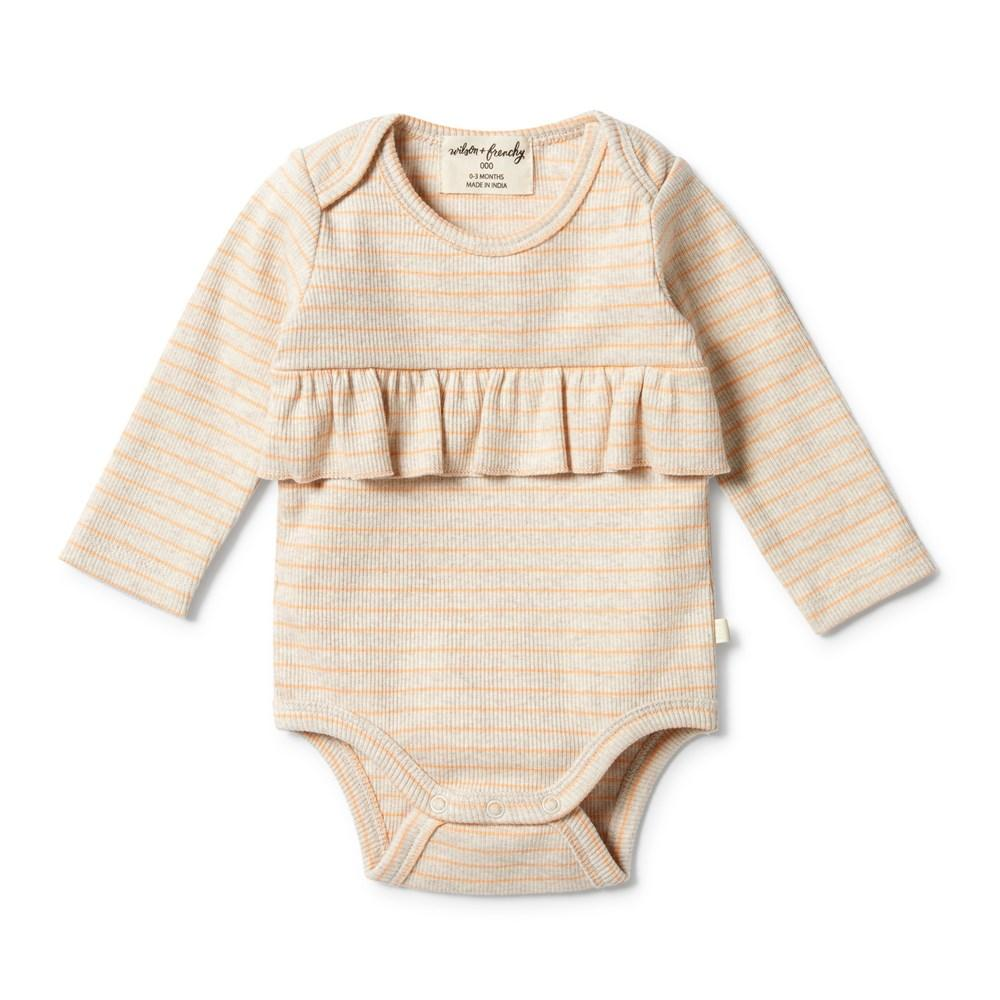 Wilson & Frenchy Organic Stripe Rib Ruffle Onesie (Multiple Variants) - Naked Baby Eco Boutique