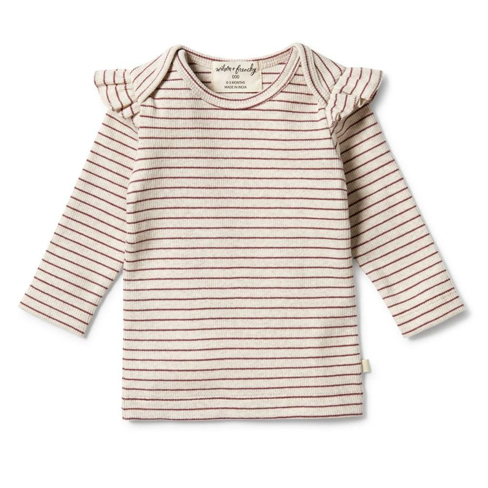 Wild Ginger / 0-3 Months Wilson & Frenchy Organic Rib Stripe Ruffle Top (Multiple Variants) - Naked Baby Eco Boutique