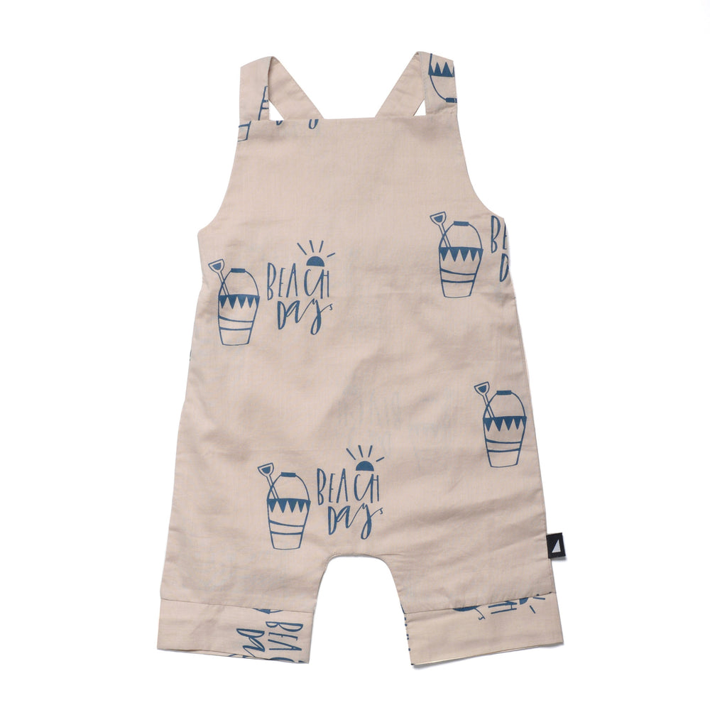 Front view of the Anarkid Organic Cotton Beach Day Woven Overalls
