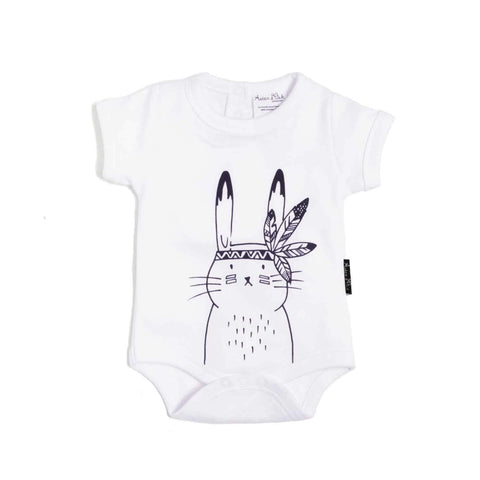 Aster & Oak Organic Cotton Bunny Chief Onesie in White