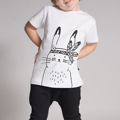 Close-up of the bunny detail on the White Aster & Oak Organic Cotton Bunny Chief T-Shirt