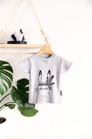 Lifestyle shot of the Aster & Oak Organic Cotton Bunny Chief T-Shirt