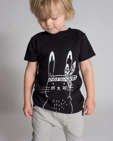 Close-up of the bunny detailing on the Aster & Oak Organic Cotton Bunny Chief T-Shirt
