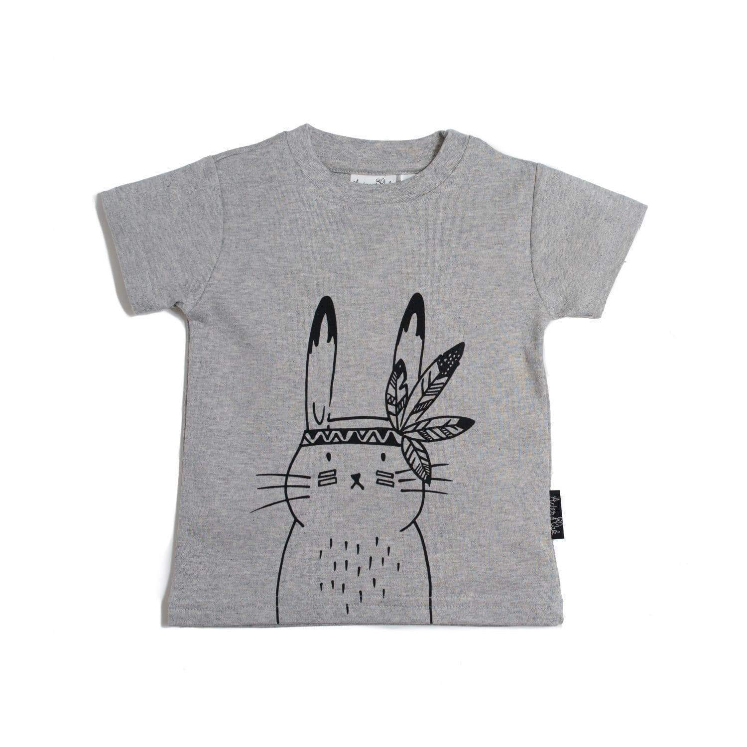 Grey / 3-6 Months Aster & Oak Organic Cotton Bunny Chief T-Shirt - Naked Baby Eco Boutique