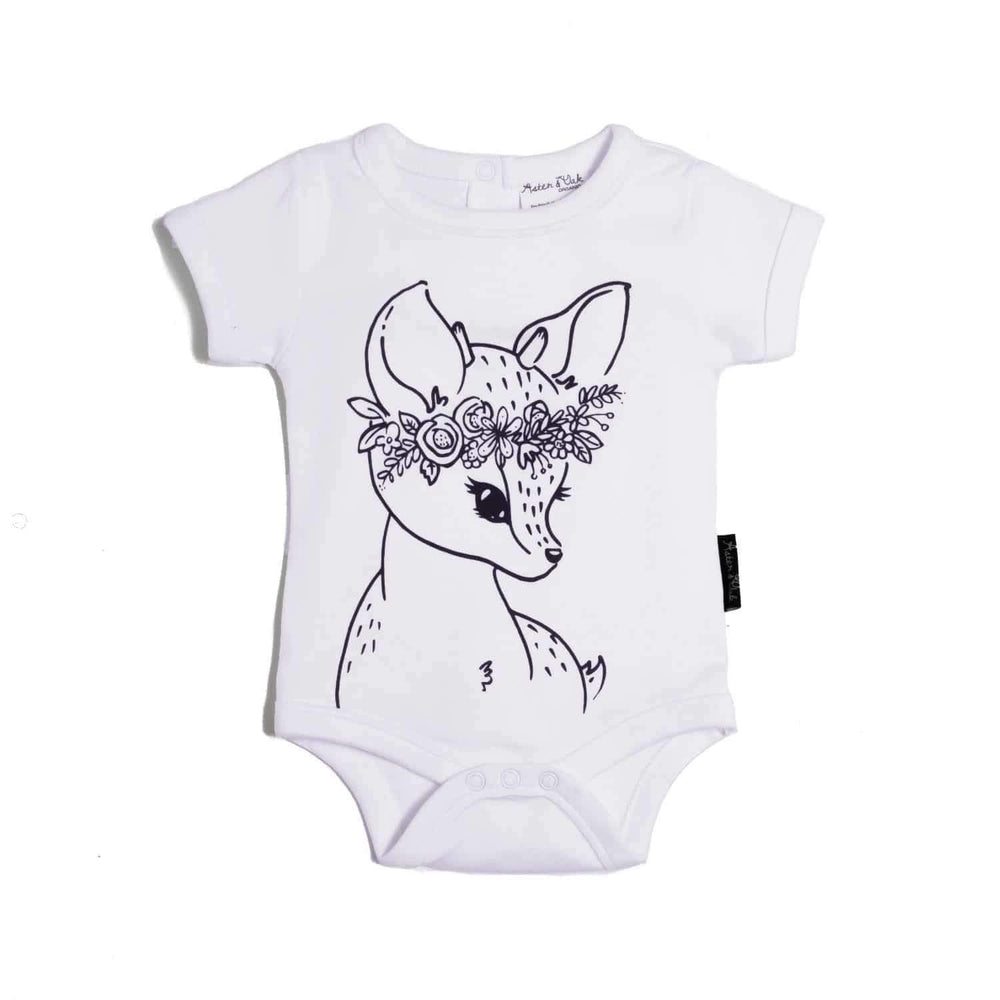 Aster & Oak Organic Cotton Fawn Onesie in White