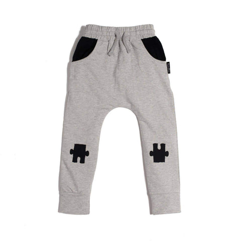 Grey / 0-3 Months Aster & Oak Organic Cotton Puzzle Knee Patch Harem Pants - Naked Baby Eco Boutique