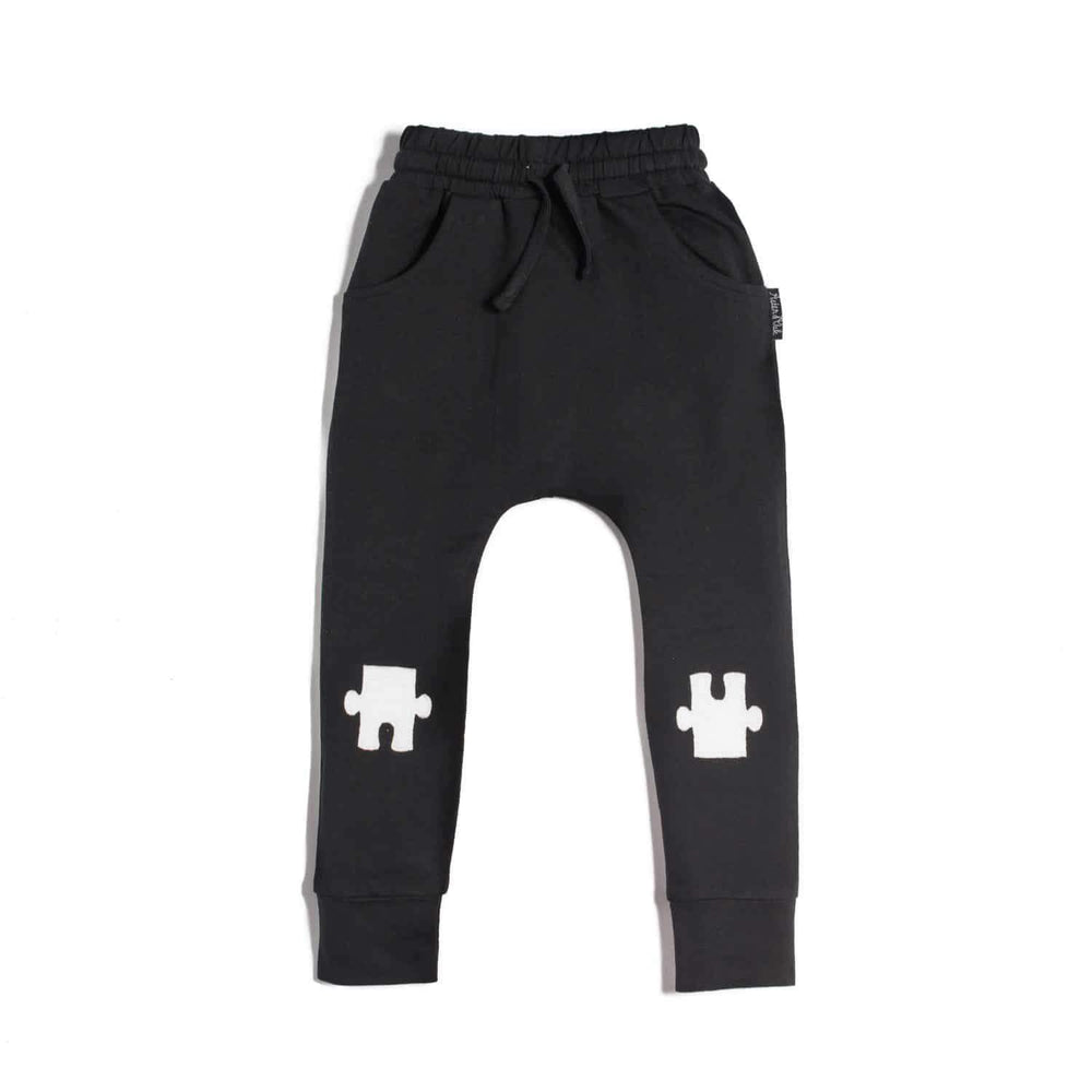 Aster & Oak Organic Cotton Puzzle Knee Patch Harem Pants in Black