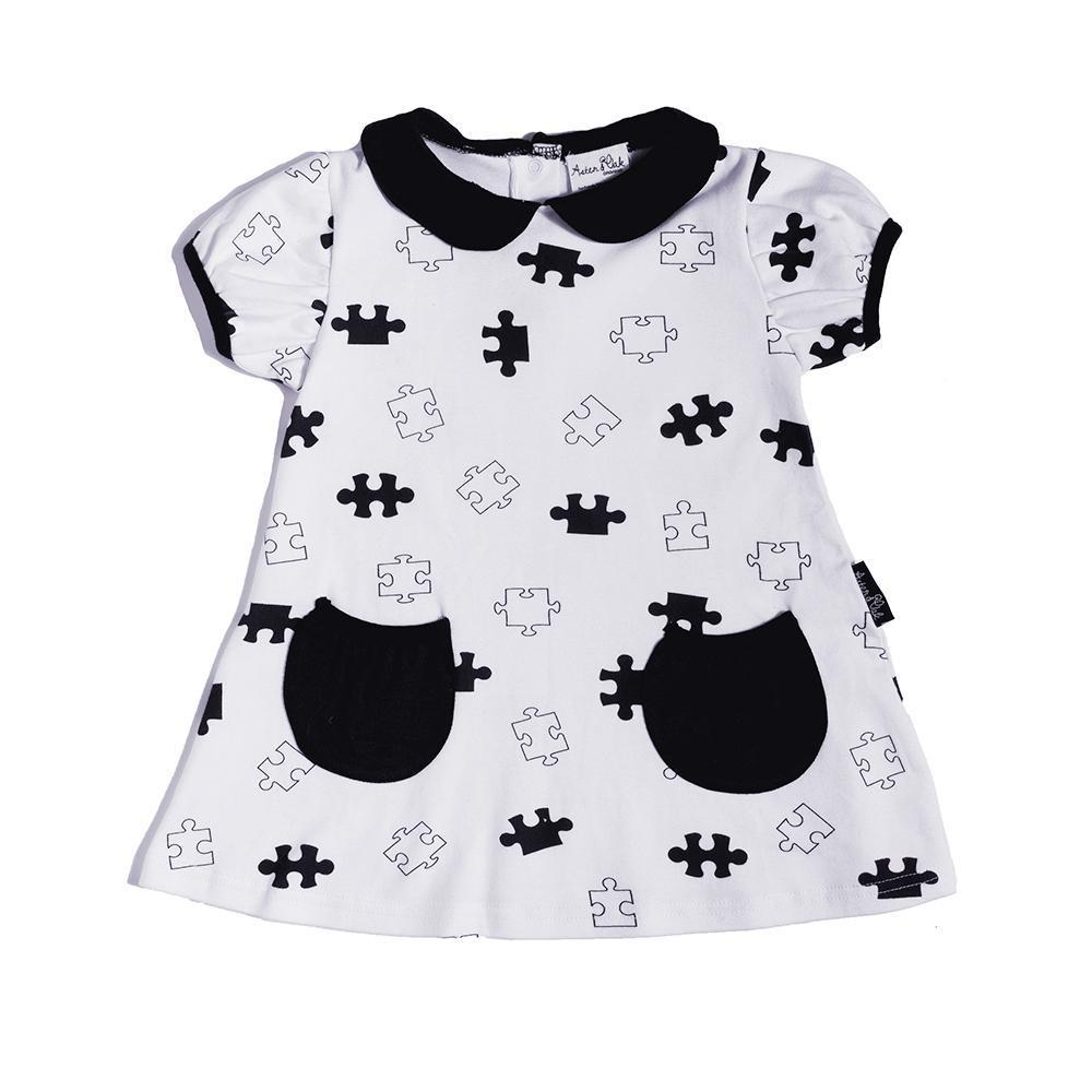 0-3 Months Aster & Oak Organic Cotton Puzzled Tunic Dress - Naked Baby Eco Boutique