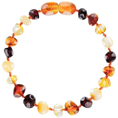 Mixed Bambeado Baby Baltic Amber Teething Anklet - Naked Baby Eco Boutique