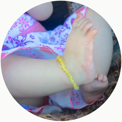 Butterscotch Bambeado Baby Baltic Amber Teething Anklet - Naked Baby Eco Boutique