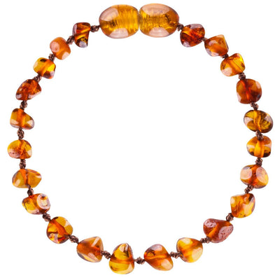 Cognac Bambeado Baby Baltic Amber Teething Anklet - Naked Baby Eco Boutique