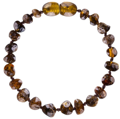 Green Bambeado Baby Baltic Amber Teething Anklet - Naked Baby Eco Boutique