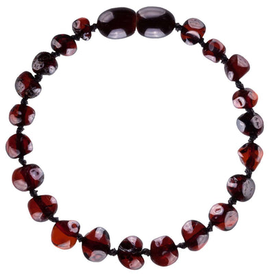 Dark Cherry Bambeado Baby Baltic Amber Teething Bracelet - Naked Baby Eco Boutique