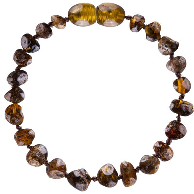 Green Bambeado Baby Baltic Amber Teething Bracelet - Naked Baby Eco Boutique