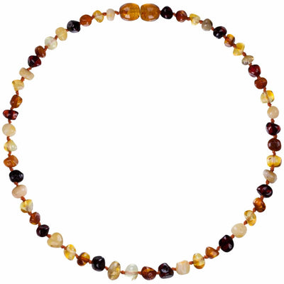 Mixed Bambeado Baby Baltic Amber Teething Necklace - Naked Baby Eco Boutique