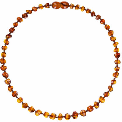 Cognac Bambeado Baby Baltic Amber Teething Necklace - Naked Baby Eco Boutique