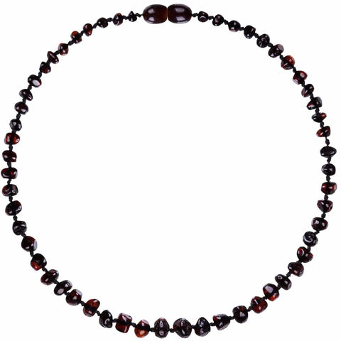 Dark Cherry Bambeado Baby Baltic Amber Teething Necklace - Naked Baby Eco Boutique