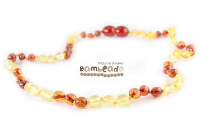 Lemon & Cognac Bambeado Premium Baby Baltic Amber Teething Necklace - Naked Baby Eco Boutique