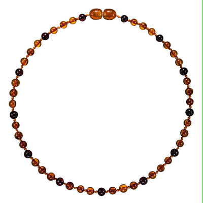 Chocolate Drop Bambeado Premium Baby Baltic Amber Teething Necklace - Naked Baby Eco Boutique