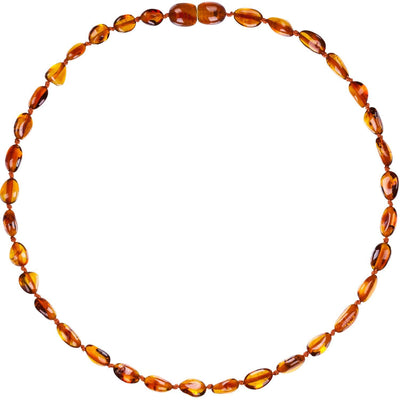 Cognac Bean Bambeado Premium Baby Baltic Amber Teething Necklace - Naked Baby Eco Boutique