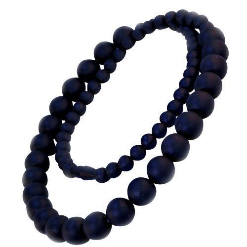 Black Bambeado Silicone Round Bead Necklace - Naked Baby Eco Boutique